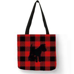 $enCountryForm.capitalKeyWord Australia - Schnauzer Dog Silhouette Printing Handbag Classic Black Red Plaid Pattern Tote Bags Reusable Shopping Diaper Bags