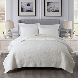 Red Embroidered Bedding Australia - Free shipping American style embroidered solid color beige white patchwork quilt cotton full queen size bed cover bedspread AL