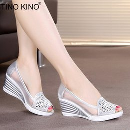 $enCountryForm.capitalKeyWord Australia - Summer Sandals Women Hollow Out Slip On Wedges Platform Peep Toe High Heels Female Fashion Breathable Mesh Shoes Ladies MX190727 MX190729