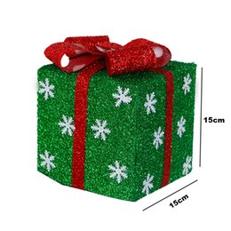 christmas gift candles Australia - Christmas Decoration Gift Box With Ribbon And Snowflakes For Christmas Decorations Green 15Cm 6In Green