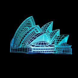 Small House Decoration Australia - Sydney Opera House 3d Lamp Colorful Touch 3d Led Vision Lamp Gift Decoration Mesa 3d Small Night-light