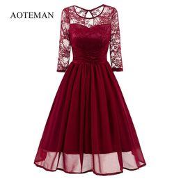 $enCountryForm.capitalKeyWord Australia - Aoteman Vintage Women Dress Summer 2019 Casual Sexy Hollow Lace Dress Elegant Solid O-neck Slim Ball Gown Party Dresses Vestidos Y190507