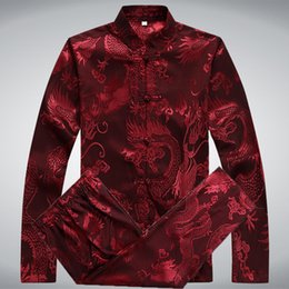 Chinese Kung Fu Tang Suit Australia - men's tang suit traditional chinese clothing for men pants male shirts oriental cheongsam tang top kung fu stand collar burgundy