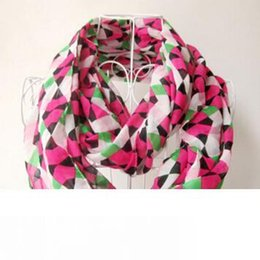 ladies infinity ring UK - Fashion Print Chiffon Scarf Circle Loop Cowl Infinity Scarves Ladies Scarves Voile Multi Color Printing Woven Scarf Free Shipping