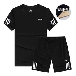 Wholesale short sleeves suits for men for sale – designer New Sports T Shirt Men s Suits Short Sleeve T Shirt Set Shirts Running Tops Men Casual Shorts Suit For Soccer Play Running