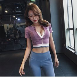Cropped Tees Australia - Women's Zipper Yoga Short Sleeve Crop Top Tight Sports Shirts Gym Fitness Workout Top Running Tee Yoga Short sleeve Shirts #426495