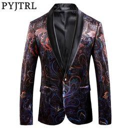 $enCountryForm.capitalKeyWord Australia - Pyjtrl Brand Gentleman Luxury Retro Vintage Shawl Lapel Velvet Print Blazer Slim Fit Floral Pattern Coat Men Casual Suit Jacket