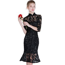 black lace fishtail evening dress Australia - luxury designer womens dresses black fishtail short prom dresses slim clothing elegant party evening dress 2019 new fashion women's clothing