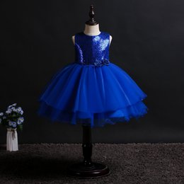 Sequined Tutu Australia - 4 to 14 years Girl summer flower sequined dresses, children party tutu clothes, baby kids & teenager boutique clothing, 4AAX808DS-23