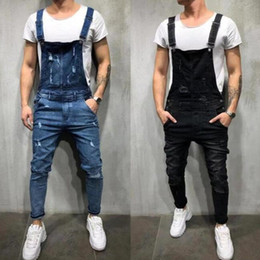 jumpsuit styles for plus size UK - 2019 New Style Men's Ripped Jeans Jumpsuits Hi Street Distressed Denim Bib Overalls For Man Suspender Pants