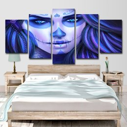 Painting Faces Australia - HD Printed 5 Piece Canvas Art Cuadros Day of The Dead Face Painting Home Decor Canvas Wall Art Girl