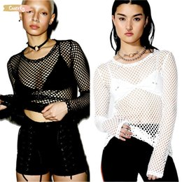 fishnet shirts Australia - T Shirt Womens Mesh Fishnet Long Sleeve Sheer Tops Solid New Sexy Perspective Tee Shirt Black White