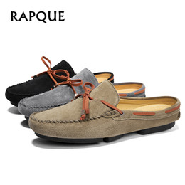 $enCountryForm.capitalKeyWord Australia - Men shoes loafers half leather summer sneakers casual hand made mens Light flats clogs Walking Driving leisure bowknot RAPQUE