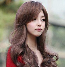 Großhandel Koreanische Mädchen Simulation Haar lange lockige Haare schräge Pony große Welle rundes Gesicht realistische flauschige Gesichtsbehaarung Sets