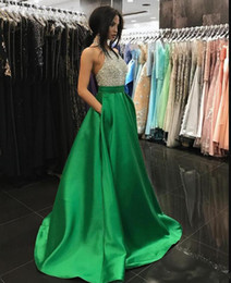 Halter HigH neck satin dress online shopping - Bling Beading Bodice Green Prom Dresses Satin Halter Neck Evening Dresses with Pockets High Quality Formal Party Gowns