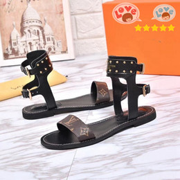 women vintage flat sandals NZ - French fashion Super luxury women sandals are made of vintage leather The Flat sandals female Women shoes With box mm1127 N7