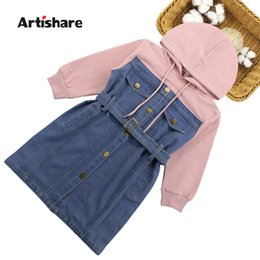 Pink teenage Party dresses online shopping - Dresses For Girls Spring Denim Patchwork Dress Hooded Girl Full Sleeve Party Dress Teenage Girls Clothing Year T191016
