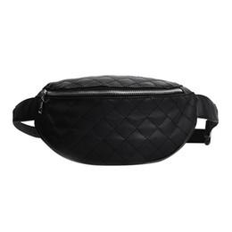 Wholesale Pillow Packs Australia - Plaid Quilted Leather Waist Pack Women Girls Belt Shoulder Chest Fanny Bags