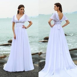 cap sleeve elegant wedding dresses Australia - Elegant Simple Beach Wedding Dresses Plus Size V Neck Cap Sleeve Backless Long Wedding Gown With Beads