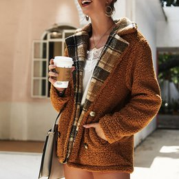 $enCountryForm.capitalKeyWord Australia - Autumn Winter Lamb Jacket Coat Womens Plaid Teddy Fur Fleece Plush Thick Outerwear Jackets Coats Chaquetas Mujer 2019 Fashion