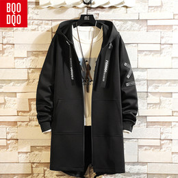 Discount mens lace jacket - BQODQO White Lace Up Trench Long Coat Men Autumn Korean Style Mens Hooded Overcoat Winter Hip Hop Streetwear Letter Prin