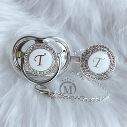 MIYOCAR name Initial letter T elegant silver bling pacifier and pacifier clip BPA free dummy bling unique design SGS pass LT on Sale