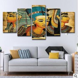$enCountryForm.capitalKeyWord Australia - Wall Art Canvas Pictures 5 Panels Retro Egyptian Pharaoh No Frame Oil Painting Canvas Art Wall Picture For Bed Room Unframed