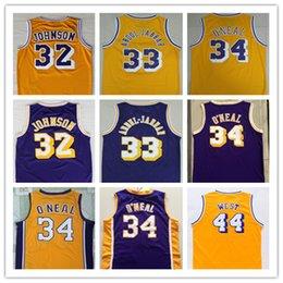 Hohe Qualität Männer Trikots 33 Earvin Johnson Trikots 34 Shaquille O Neal 44 Jerry West Russell 33 Kareem Abdul Jabbar Basketball Jersey