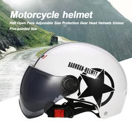 $enCountryForm.capitalKeyWord Australia - Motorcycle Helmet Half Open Face Adjustable Size Sun Visor Helmet Protection Gear Head Helmets Unisex With Stars White Red Black