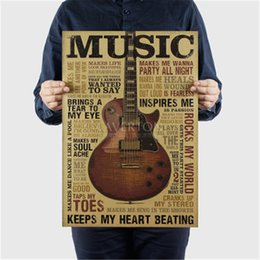 Guitar Wall Stickers Australia - Music Guitar A Style Poster Classic Nostalgic Vintage Kraft Paper Poster Bedroom Living Room Wall Sticker