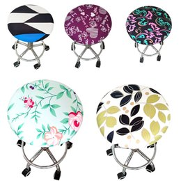 wholesale stools chairs NZ - Home Chair Cover Round Bar Stool Cover Protector Polyester Elastic Seat Chair for Dentist Hair Salon Slipcover funda silla