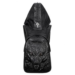 18a49a109f 3D Wolf Men Backpack Vintage Fashion Rivet bag Retro Rock Bags PU Leather Punk  Bag Womens Animal Hio-Hop Backpacks With Hat