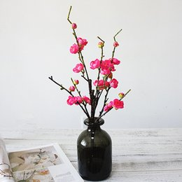 Sakura cherry bloSSom flower tree online shopping - Beautiful Plum Cherry blossoms flowers Artificial Silk flower Sakura tree branches Wedding Decoration Home table Decor wreath