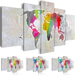 world map prints canvas UK - Modern Decorative painting Canvas Print Modern Fashion Abstract World Map Painting for Home Decoration , Choose Color & Size(Multicolor)