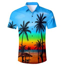 fashion hawaiian shirts 2019 - Men's Summer New Style Fashion Coconut Tree Hawaiian Style Short-sleeved Shirts cheap fashion hawaiian shirts