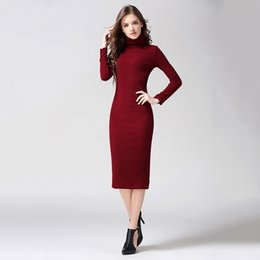 Red Dresses Black Tights Australia - 2019 European and American high collar long sleeve black wine red tight knit polyester S&M dress mixed order