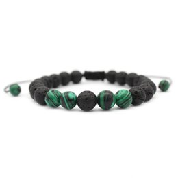 Weaved Bracelets NZ - Malachite Natural Black Lava Stone Beads Weave Bracelet Essential Oil Diffuser Bracelet Volcanic Rock Beaded Jewelry