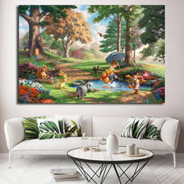 Pooh Cartoon Australia - Smoky Mountains Tigger Pooh Bear Thomas Kinkade Poster Painting on Canvas Bedroom Wall Art Decoration Pictures Home Decor