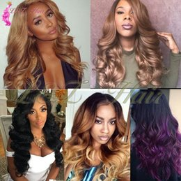 Ombre Blue Purple Body Wave Hair Australia - 3 Bundles purple gray body wave Ombre pink blue brown 18-22 Inches 3 pieces lot Ombre Body Hair Bundles Two Tone Curly Wave Synthetic