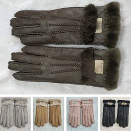 Ski mittenS women online shopping - Luxury Women Men Shearling Sheepskin Glovers Australia UG Brand Suede Leather Gloves Fleece Fur Wool Mittens Skiing Sport Work Glove C101802