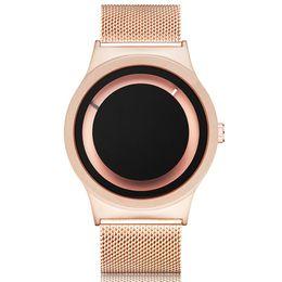 $enCountryForm.capitalKeyWord Australia - Creative Couple Watch Rose Gold Black Watches Men Women Unique Turntable Dial Wristwatch Casual Sport Steel Male Quartz Clock MX190801