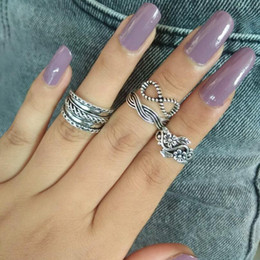 $enCountryForm.capitalKeyWord Australia - Antique Silver Color Caved Finger Rings For Women Hollow Flower Bowknot Vintage Boho 2018 Midi Knuckle Ring Set Jewelry Femme