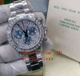 jh factory watches UK - 40MM Luxury JH Factory Automatic Diamond Bezel Dial Mens Cal.4130 Chronograph Watch Men 116576 Tbr Cosmograph Perpetual Eta Wristwatches