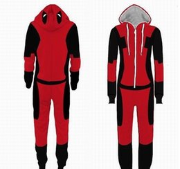 Wholesale deadpool halloween costume for sale – halloween Adult Superhero Pijama Deadpool Costumes Man Pajamas Women Jumpsuits Cosplay Halloween Costumes for Women Christmas Party OutfitMX190921
