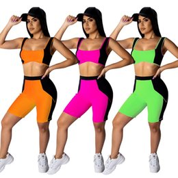 $enCountryForm.capitalKeyWord Australia - Womens tracksuits tank top shorts outfits two piece set summer casual panelled womens clothing slim sexy crop tops + shorts suit klw1163