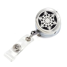 $enCountryForm.capitalKeyWord Australia - Lucky Snowflake Perfume Locket Metal Retractable Badge Reel Key ID Card Clip Ring Lanyard Name Tag Card Holder With Free Pads