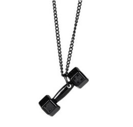 $enCountryForm.capitalKeyWord NZ - Dumbbell Designer Necklaces Pendant for Women Fashion Statement Necklaces for Sport Gym Iced out Pendant Jewelry Factory Direct Sale