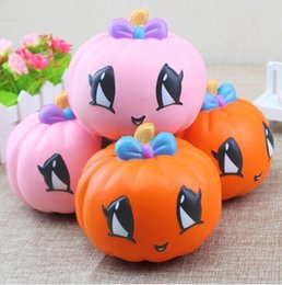 Music Gadgets Australia - 11.5*10.5cm Halloween Squishy Pumpkin Jumbo Fruit funny Straps Slow Rising Squeeze Toy Stress Relief Gadgets Kids Phone Charms Decompression