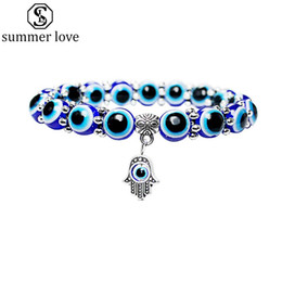 Lucky Beads Australia - New Fashion Evil Lucky Eye Hamsa Hand Beads Bracelet for Women Men Elastic Acrylic Turkish Bracelet Fashion Jewelry