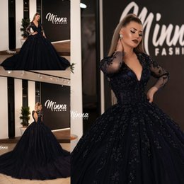 Wholesale chrismas shirt for sale – custom Dark Navy Evening Dresses V neck Long Sleeves Lace Formal Prom Party Gowns Plus Size Evening Dress